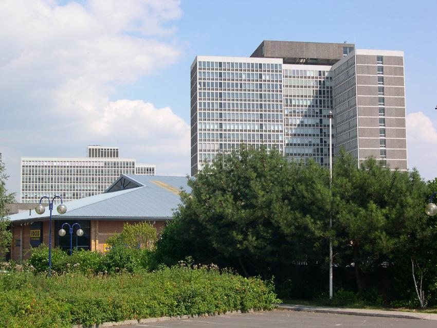 Government buildings - view from nearby supermarket car park