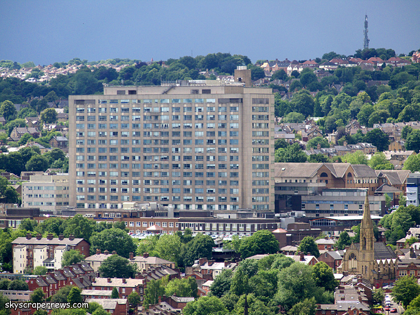 The Royal Hallamshire Hospital from St Pauls Tower